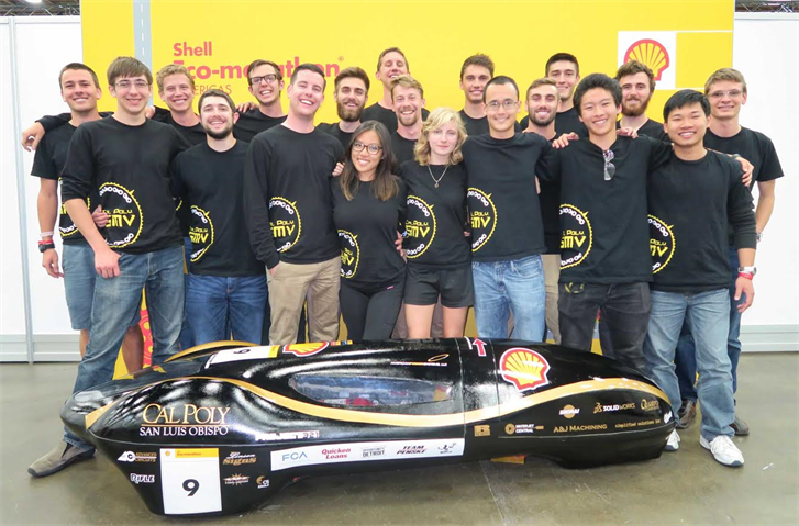 The Cal Poly Supermileage team with its vehicle, the Ventus II. (Photo courtesy Cal Poly)