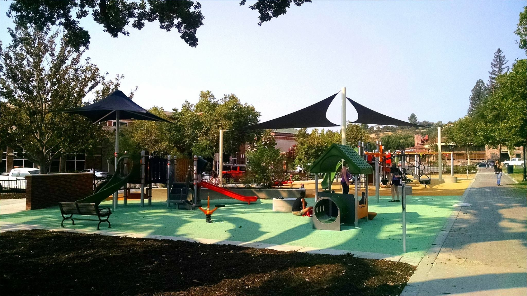The playground, located in the downtown park across from the library, opened for use July 29. (Paso Robles Chamber of Commerce)
