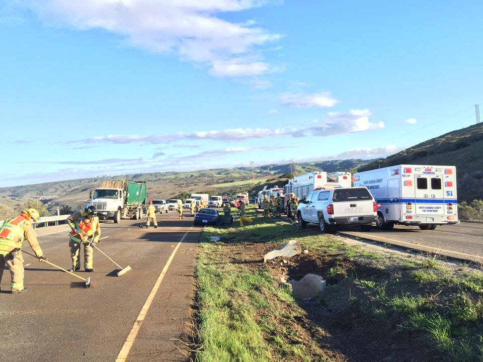 Traffic slowed on Highway 1 near Vandenberg AFB Friday due to a minor-injury crash. (Photo: Vandenberg Fire Dept.)
