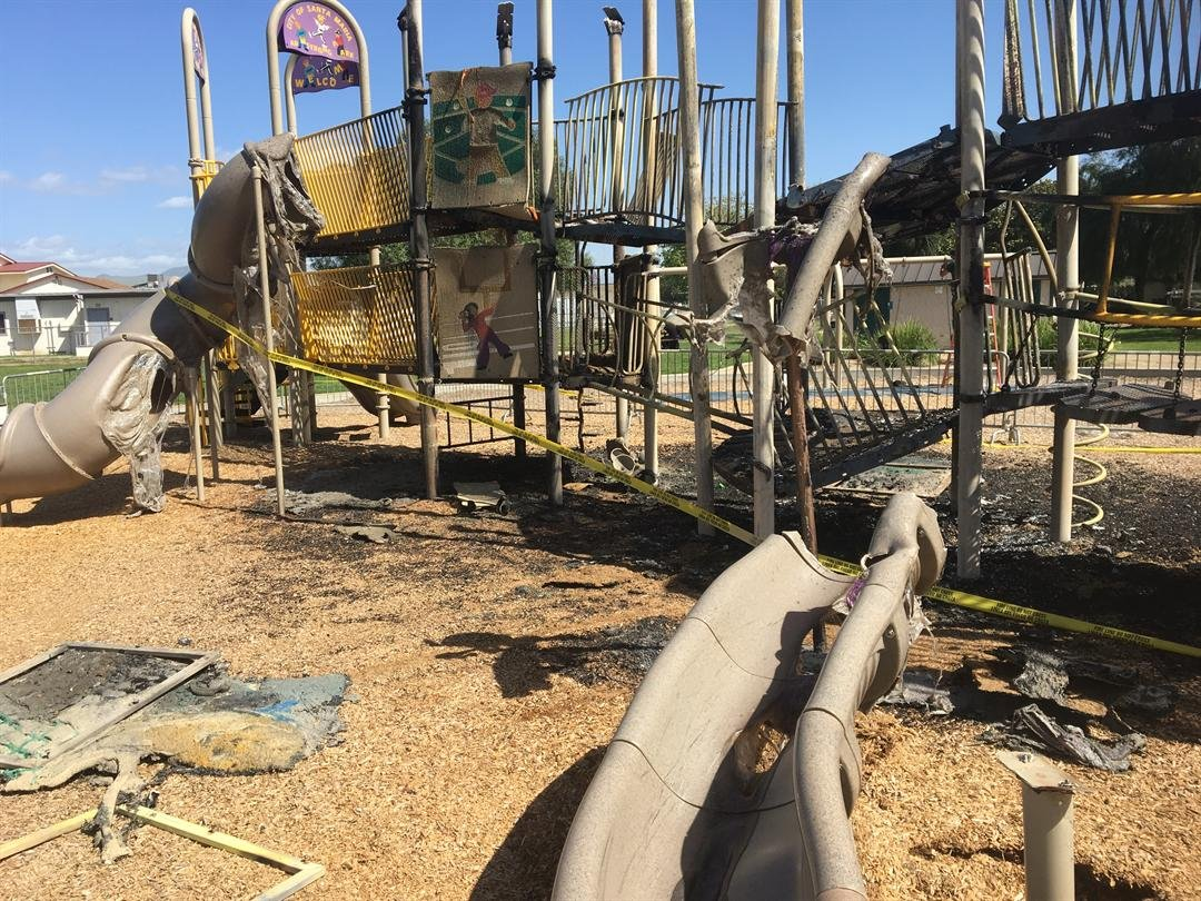 Fire damaged the plastic playground structure at Armstrong Park. (KSBY photo)