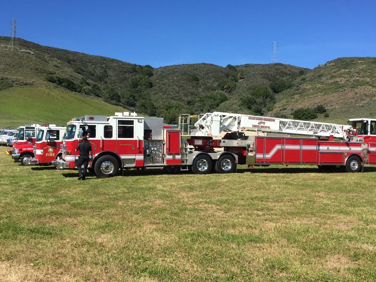 Fire trucks were lined up outside Mountainbrook Church for the memorial service for Matthew Frank. (KSBY photo)