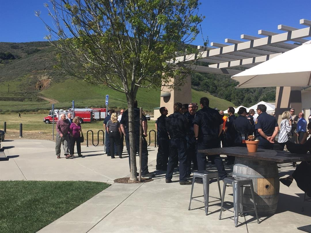 People gather outside Mountainbrook Church prior to Wednesday's memorial service. (KSBY photo)