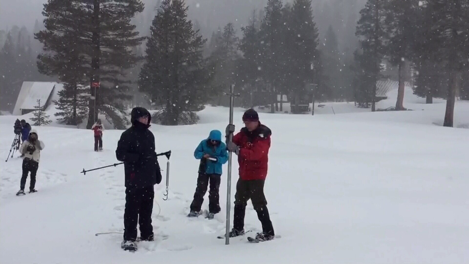 State water managers measure the snowpack near Lake Tahoe. (KCRA photo)
