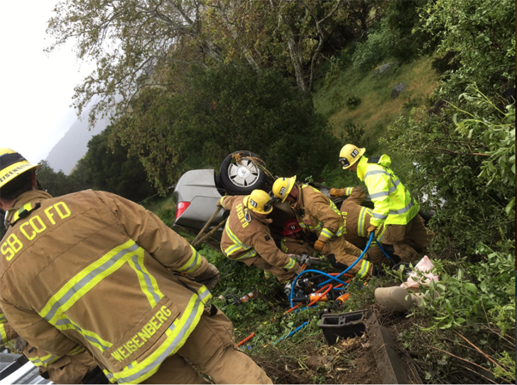 Firefighters respond to a deadly crash along Highway 101 in the Gaviota area. (Photo courtesy Capt. Dave Zaniboni/Santa Barbara County Fire Dept.)