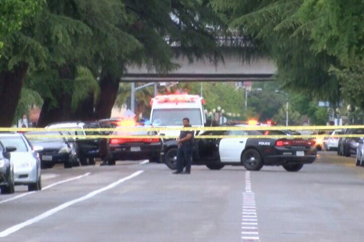 Police at the scene of a shooting in downtown Fresno. (NBC photo)