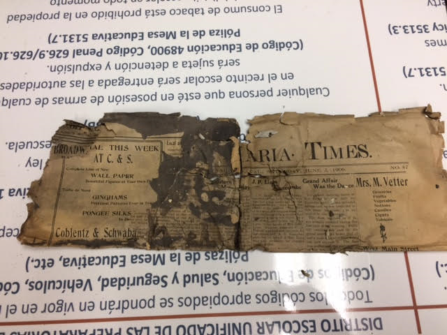 Remnants of a Santa Maria Times newspaper found in a time capsule at Santa Maria High School. (Courtesy Santa Maria Joint Union High School District)