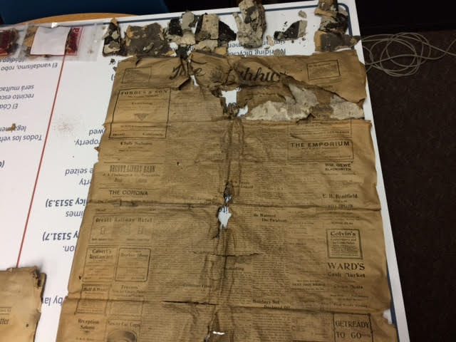 A newspaper found in a time capsule at Santa Maria High School. (Courtesy Santa Maria Joint Union High School District)