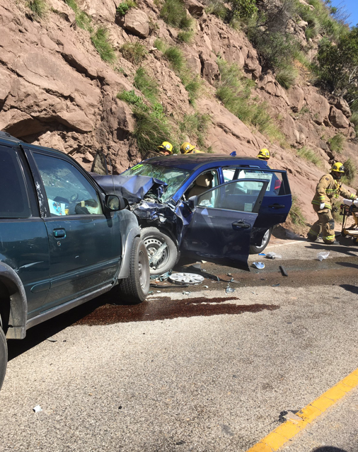 A head-on collision on Highway 154 involved five vehicles. (Credit: @SBCFireInfo Twitter)