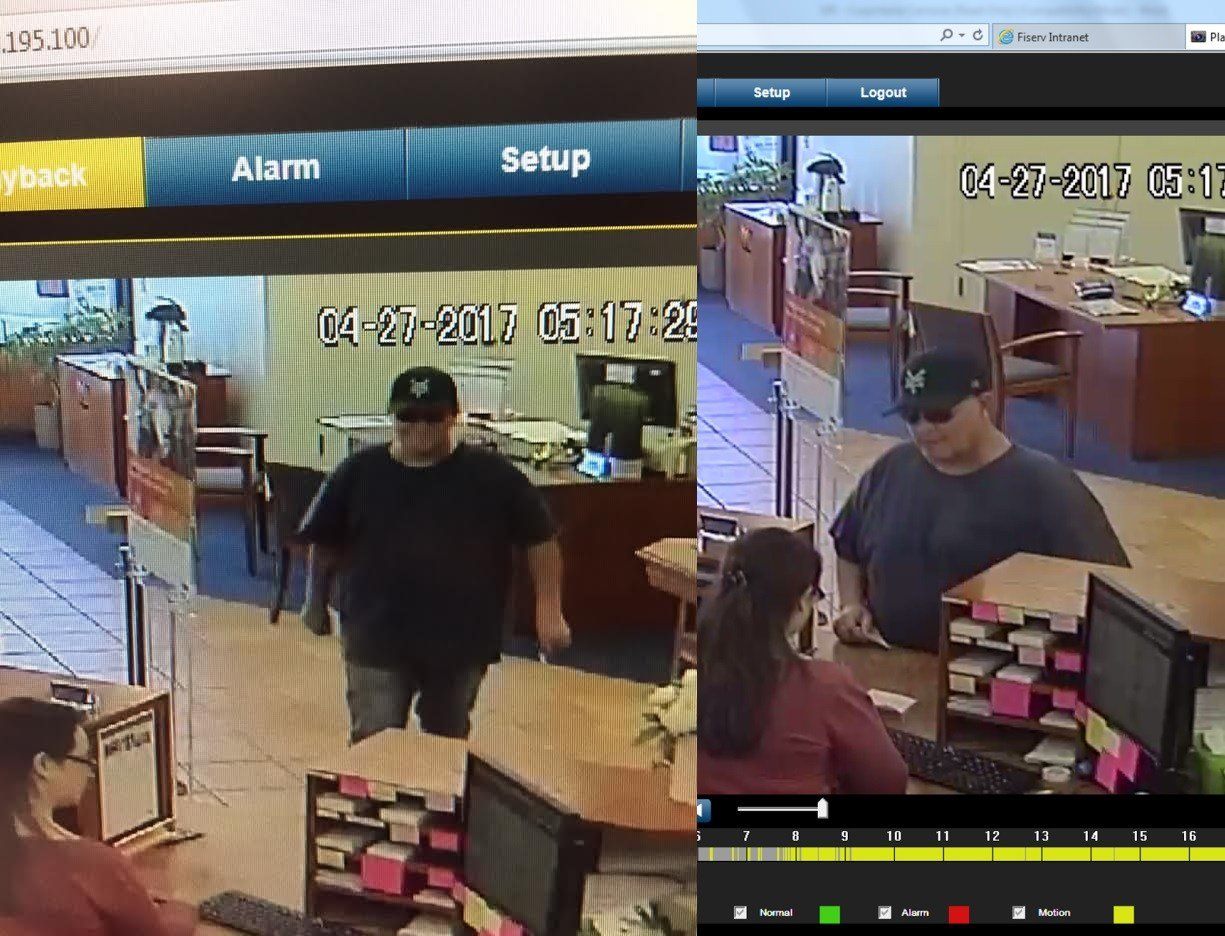 Surveillance photos show the man authorities say robbed Montecito Bank and Trust in Carpinteria Thursday evening.
