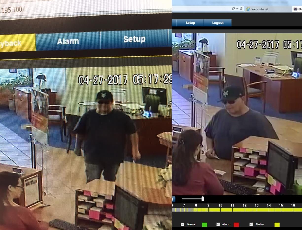 Surveillance photos show the man authorities say robbed Montecito Bank and Trust in Carpinteria Thursday evening.