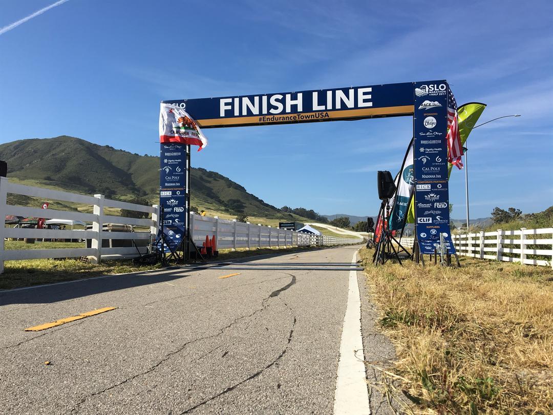 The finish line of the SLO Marathon + Half 2017. (KSBY photo)