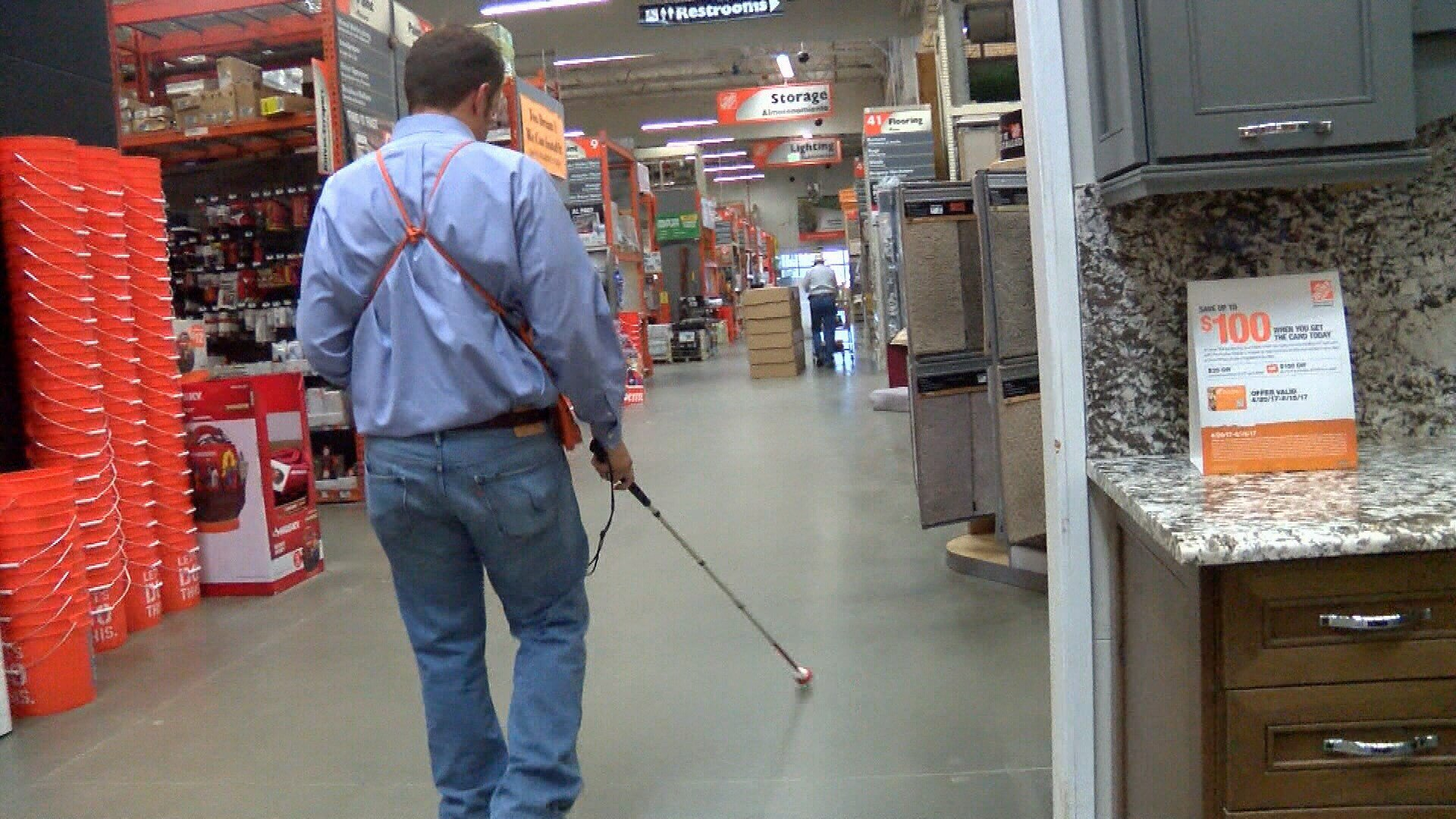 Travis Sitler walks the aisles of the Atascadero Home Dept. (KSBY photo)
