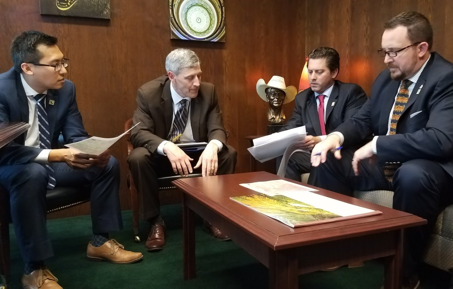 Assemblyman Jordan Cunningham meets with other officials regarding Highway 46 safety concerns. (Contributed photo)