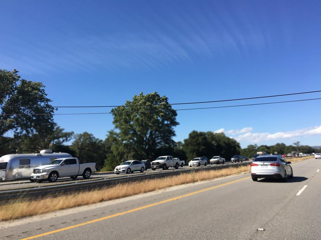A photo of the southbound traffic is pictured from the northbound lanes. (Viewer photo)
