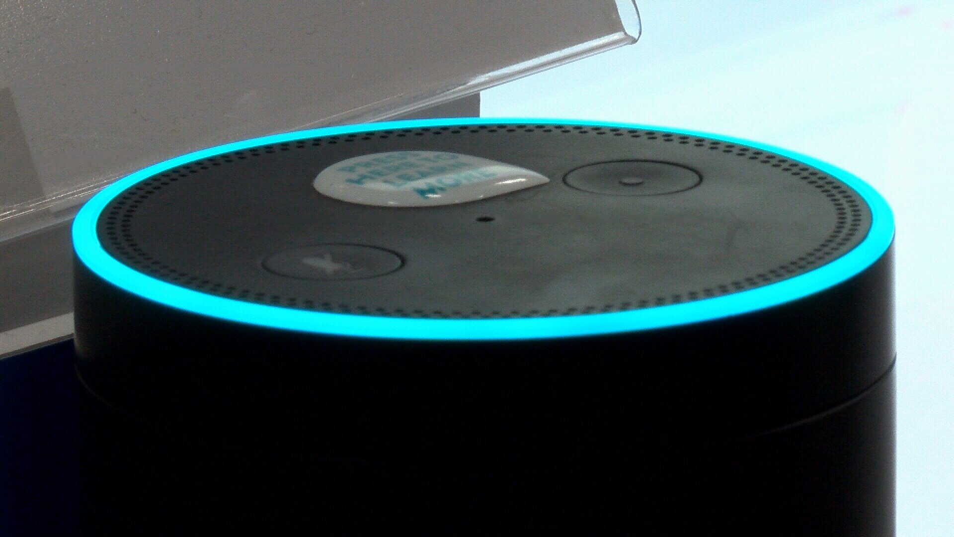 An Amazon Echo device on display at Best Buy. (KSBY photo)