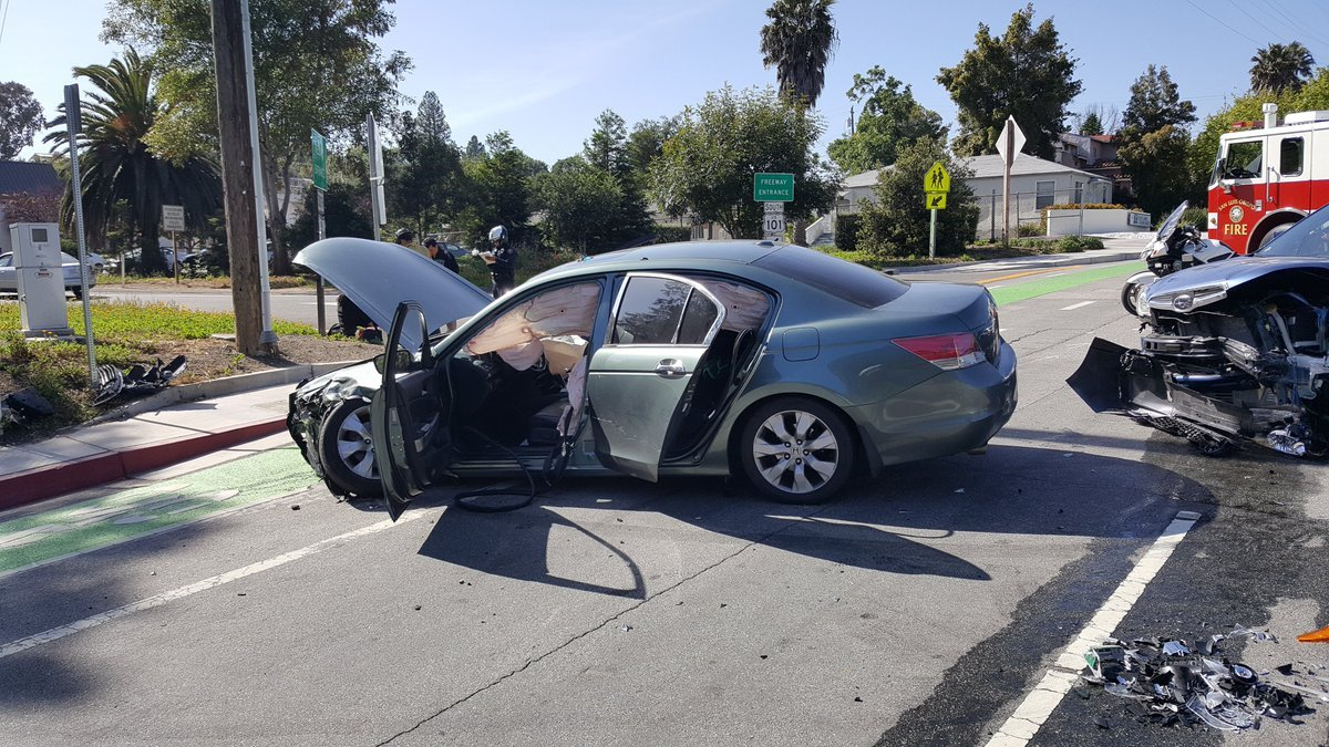 A crash on Grand Avenue and Loomis Street in SLO was caused by a driver who was texting, police say. (photo: @slopdchief)