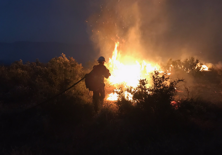 A Santa Barbara County firefighter at the scene of the Wasioja Fire. (Photo courtesy Capt. Dave Zaniboni, Santa Barbara Co. Fire Dept.)