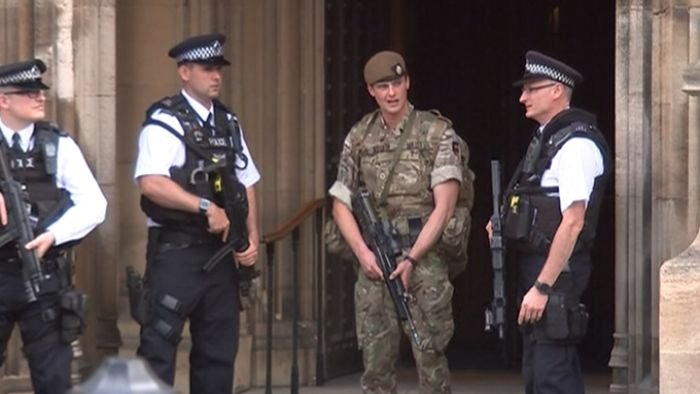 A heavy military and police presence is in effect in Britain. (NBC photo)