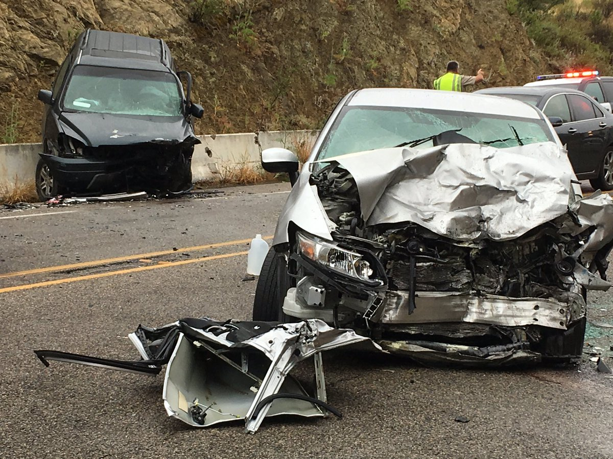 Fire officials say the driver of the car had to be extricated and suffered major injuries. (Photo: SB Co. Fire)