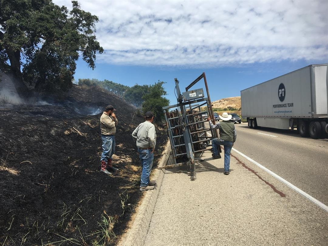 The cause of the fire was determined to be sparks created when a trailer lost one of its wheels. (KSBY photo)
