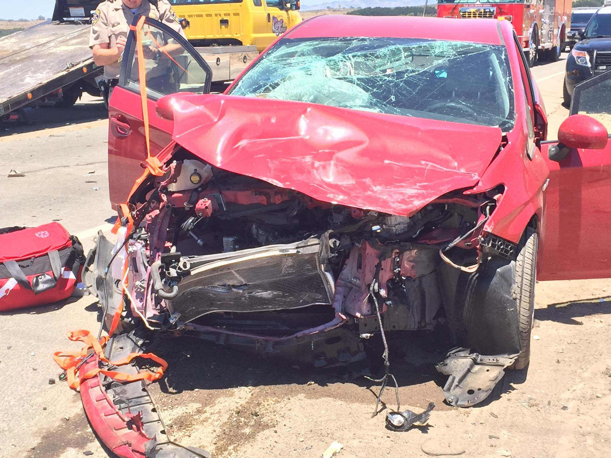 One of three vehicles involved in a crash Monday on Highway 1 in Guadalupe. (Photo: Guadalupe FD)