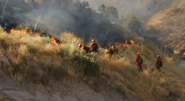 Firefighters battle the Manzanita Fire. (NBC photo)