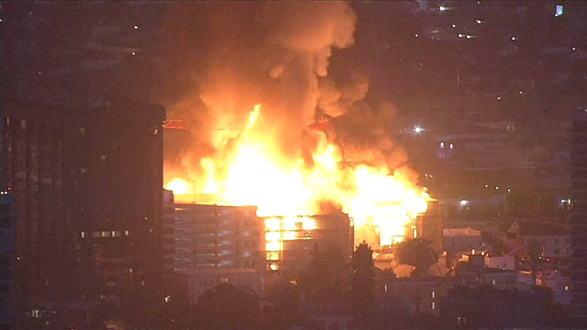 Four-Alarm Construction Site Fire Prompts Evacuations in Oakland