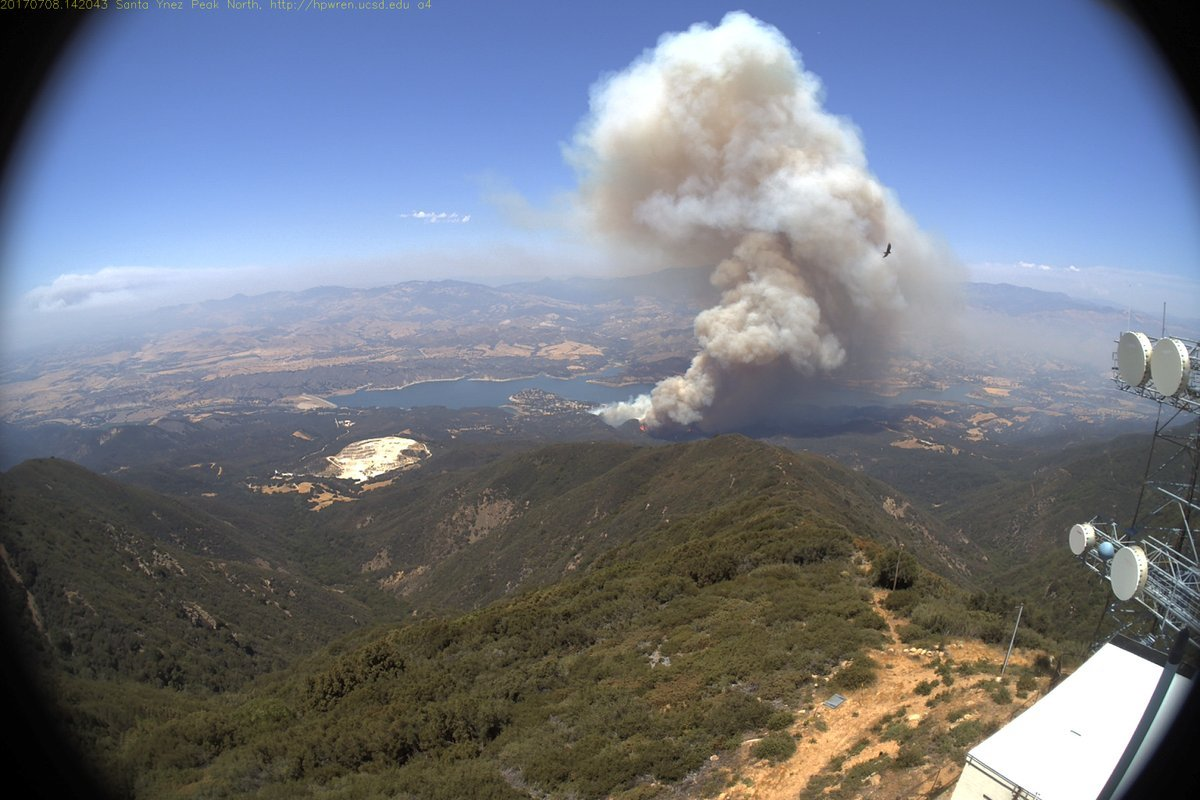 Aerial view of the Whittier Fire burning near Cachuma Lake. (Photo courtesy County of Santa Barbara)