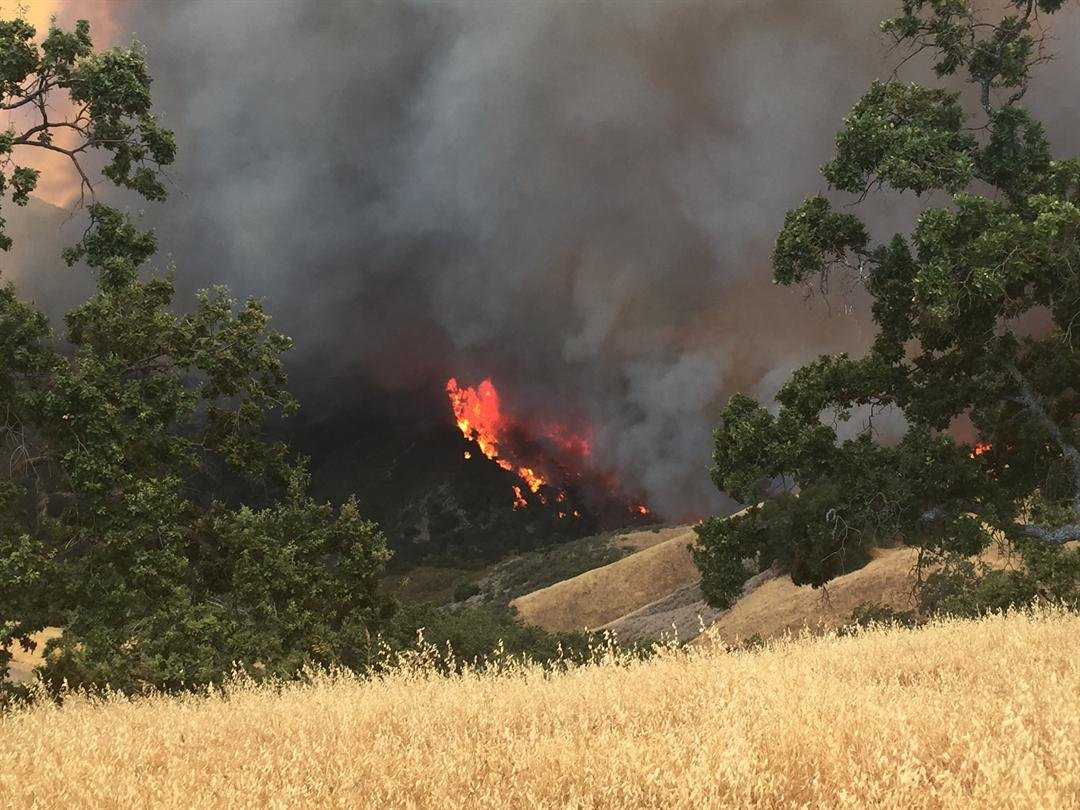 Flames at the scene of the Alamo Fire. (KSBY photo)
