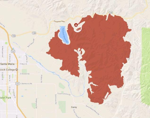 The Alamo Fire burn area (CAL FIRE map)