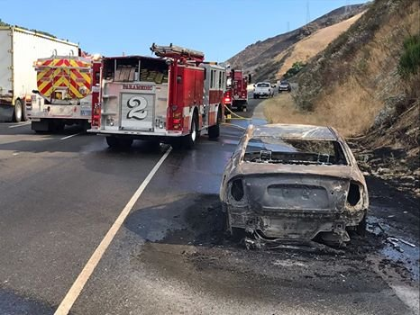 The Kia CHP says caught fire and started the Grade Fire. (CHP SLO)