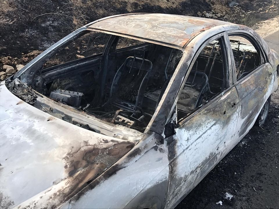 What's left of the car that CHP says sparked the Grade Fire. (CHP SLO)