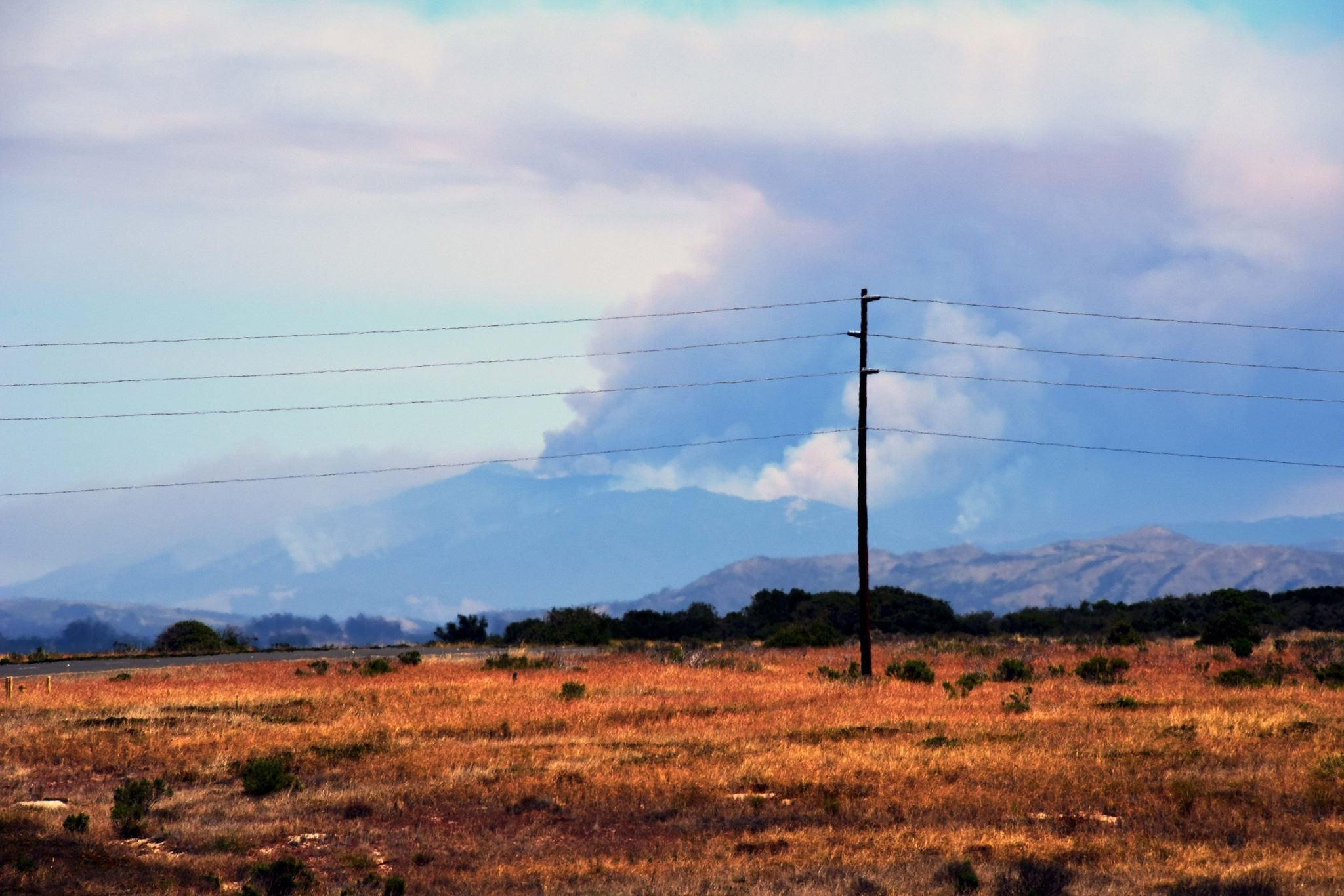 A view of the Whittier fire from Vandenberg AFB. (Credit: Rodney Speed via Facebook)