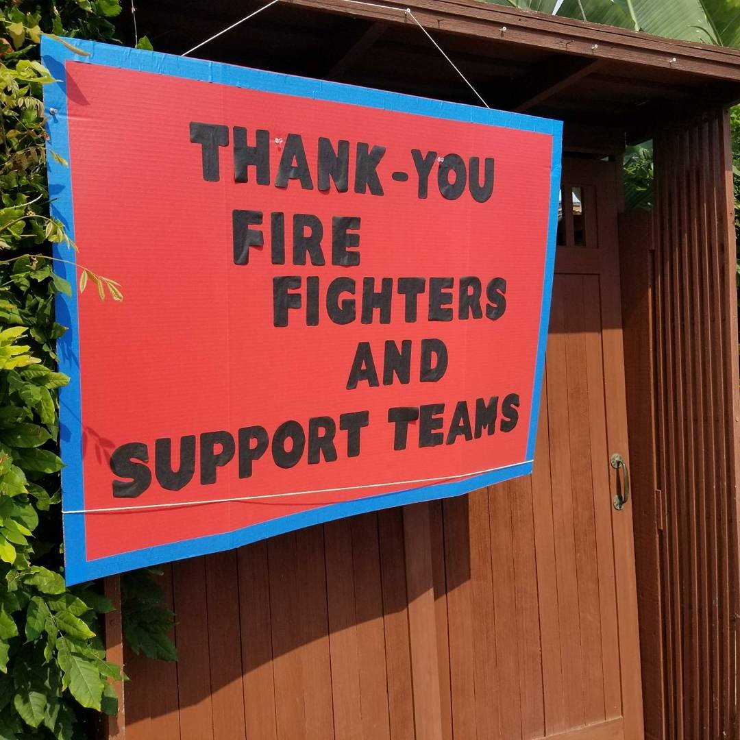 Several residents have made signs, delivered goodies, and found ways to express gratitude for those battling wildfires. (Photo by CAL FIRE SLO via Twitter @CALFIRE_SLO)