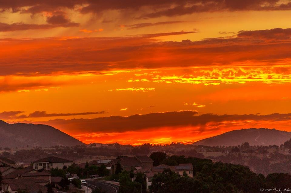 A fiery orange sunset in Paso Robles. (Photo Credit: Becky Silva)