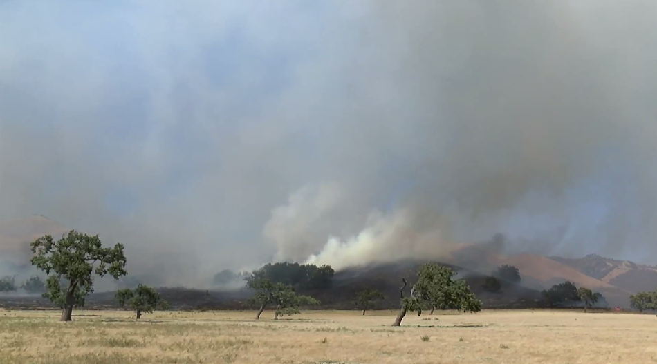 Fire officials say the Mesa Fire has the potential to burn between 300 and 400 acres. (KSBY photo)