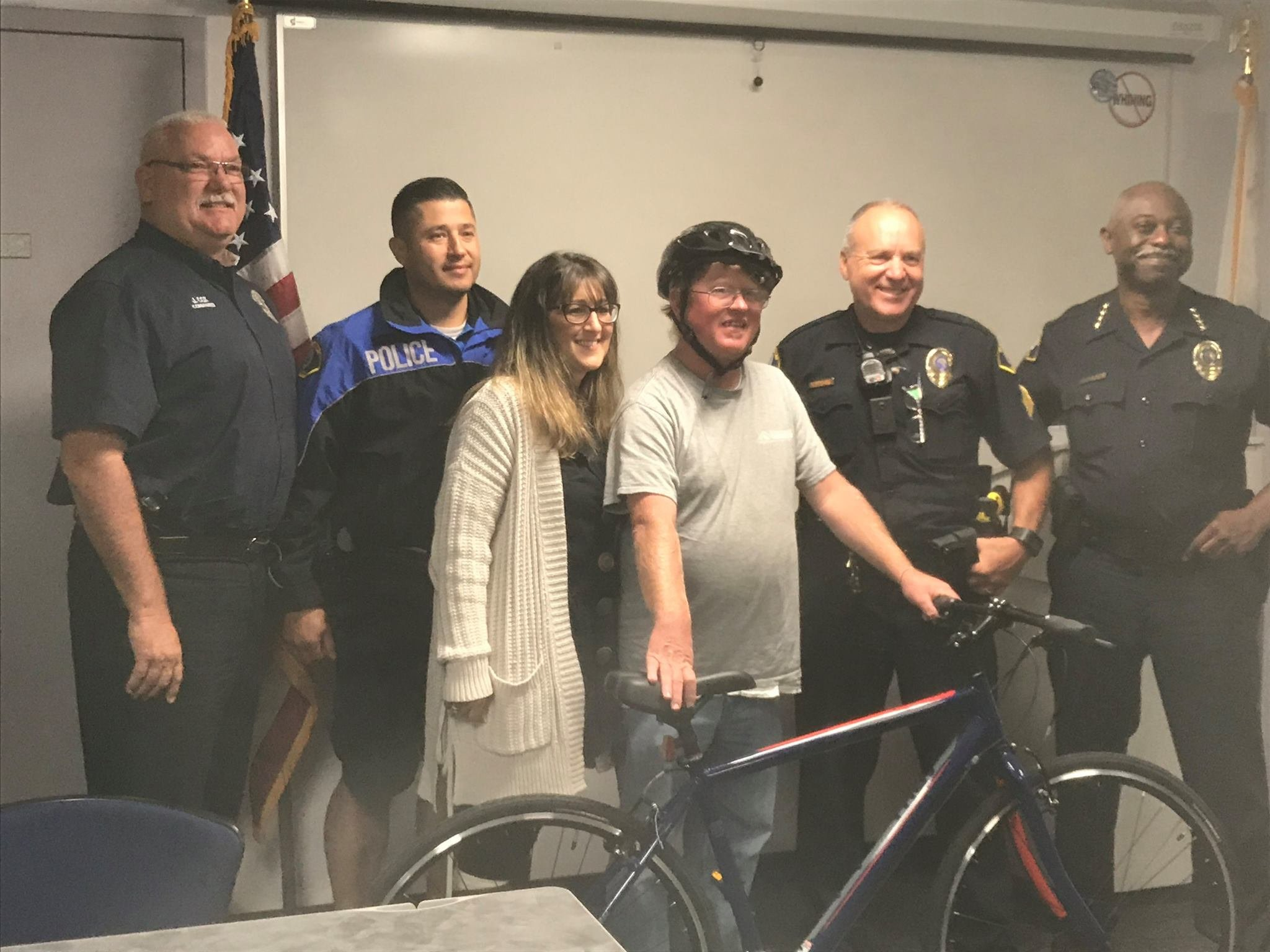 Matthew Majors poses with the new bike given to him by members of the Morro Bay Police Department. (Photo courtesy Morro Bay Police Dept./Facebook)