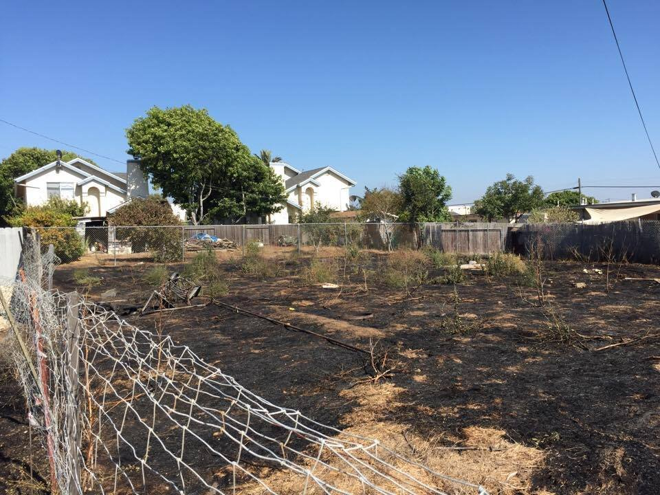 A vacant lot caught fire in Oceano. (KSBY Photo)