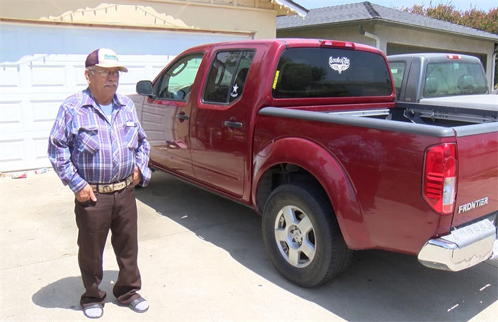 Andres Tapia says he is happy and thankful to have his truck back after Wednesday's carjacking in Lompoc. (KSBY photo)