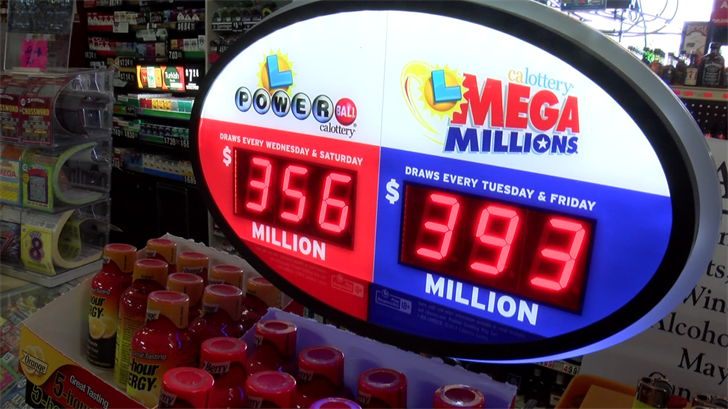 The latest Powerball and Mega Millions jackpots as displayed at Liquor Emporium in Lompoc. (KSBY photo)
