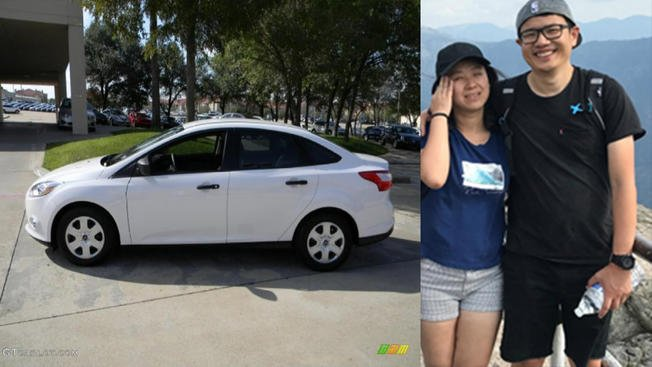 A photo of the same type of make and model of the car driven by the duo: a white 2012 Ford Focus Sedan. Jie Song (left) and Yinan Wang (r) were last seen in Sequoia National Park on Aug. 6. Photo credit: National Park Service