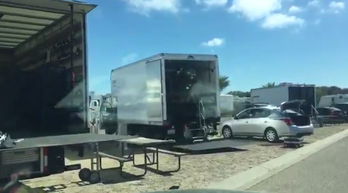 A film crew set up at Pacific Dunes Ranch RV Resort Monday in Oceano. (KSBY photo)