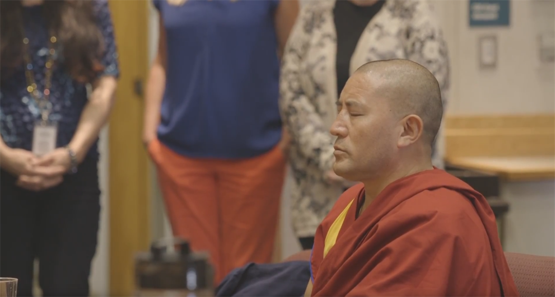Monk Geshe Towten stopped by the  San Luis Obispo County Office of Education and gave a ceremonial blessing to employees Wednesday. (courtesy photo)