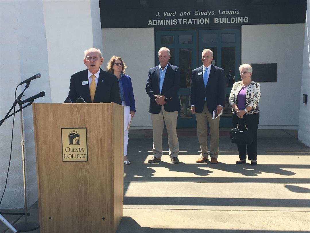 Dr. Gil Stork announces his retirement as Cuesta College Superintendent/President. (KSBY photo)