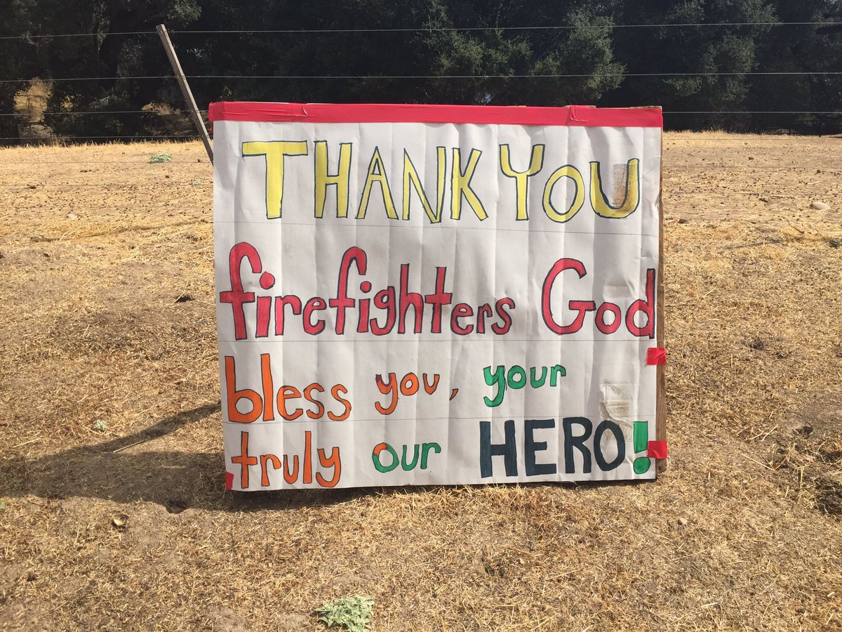 A sign thanking firefighters can be seen in the Margarita Fire burn area. (KSBY photo)