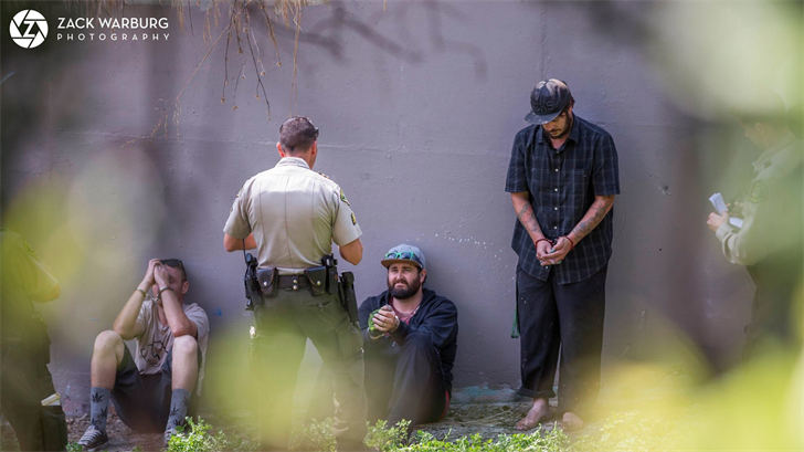 Three men were arrested on suspicion of graffiti and vandalism charges. (Photo courtesy: Zack Warburg)