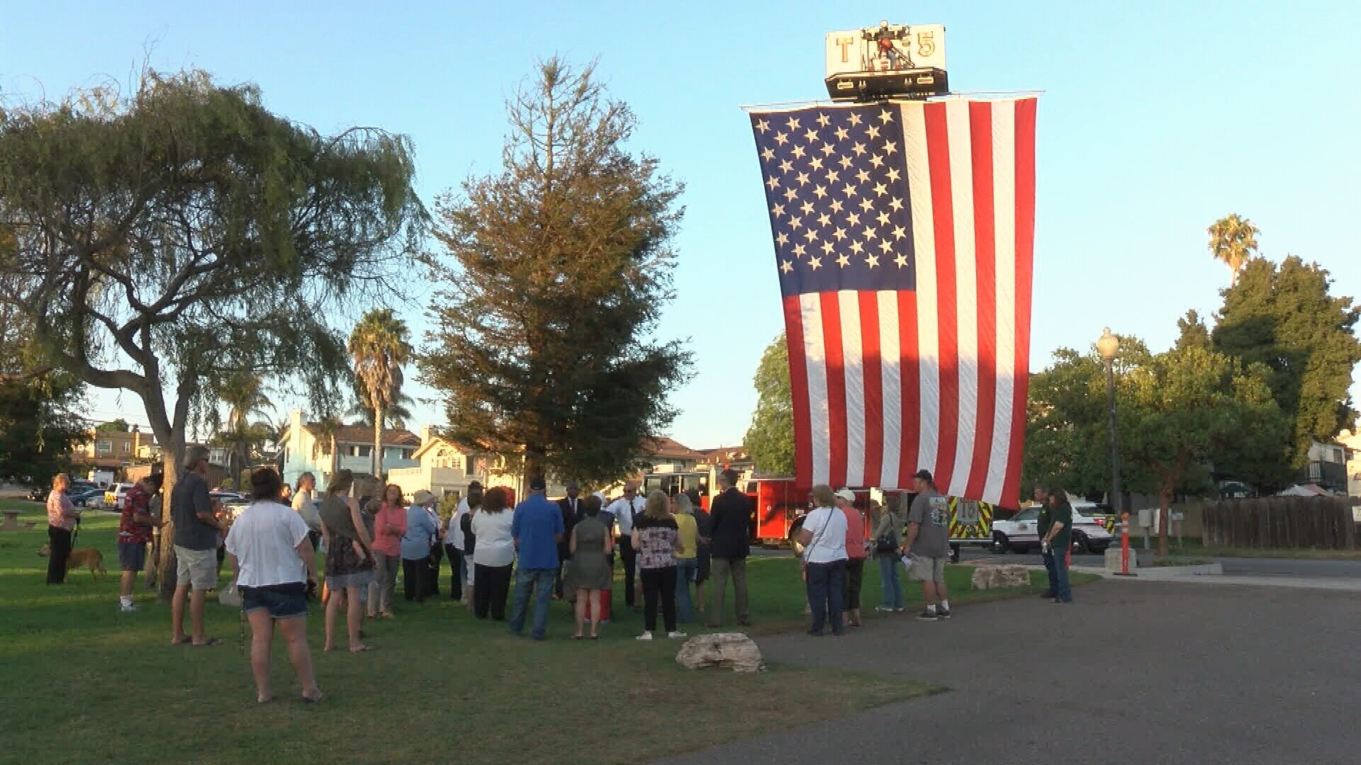The community gathered for a ceremony in remembrance of 9/11 victims. (KSBY photo)