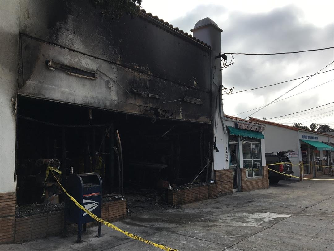 Fire caused extensive damage to a laundromat on De La Vina Street. (Photo courtesy Santa Barbara City Fire Dept.)