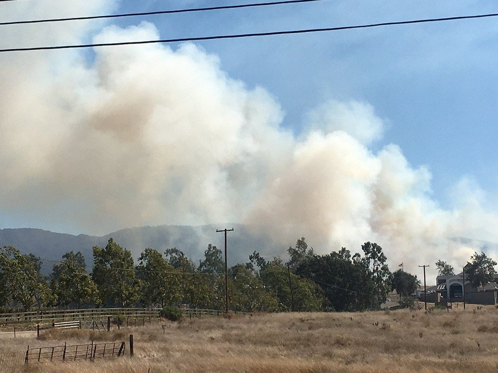 A fire burns in a field near the Santa Ynez Airport. (KSBY photo)
