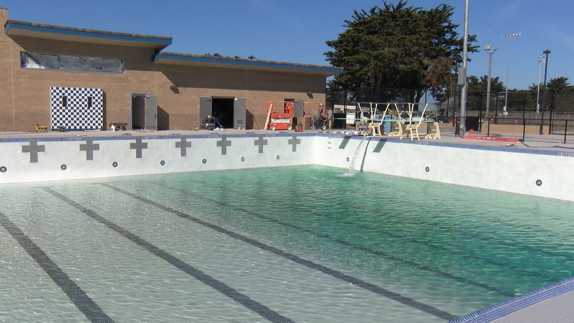 The new pool at Morro Bay High School was being filled with water Tuesday. (KSBY photo)